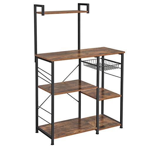 VASAGLE ALINRU Baker's Rack with Shelves, Kitchen Shelf with Wire Basket, 6 S-Hooks, Microwave Oven Stand, Utility Storage for Spices, Pots, and Pans, Rustic Brown and Black UKKS35X