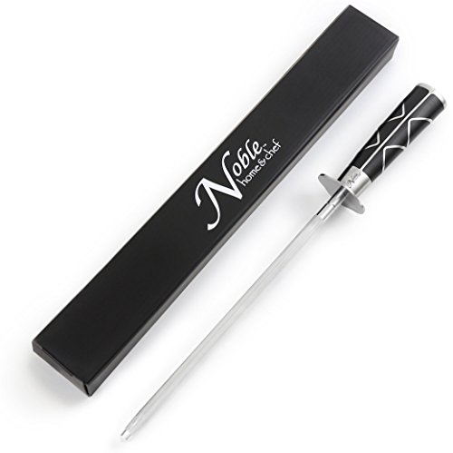 """Professional Knife Steel Magnetized for Safety. Our Honing Rod Has an Oval Handle for a Firm Grip and is Built For Daily Use, Perfect for Chefs and Home Cooks Alike! (10"""", Luxury)"""