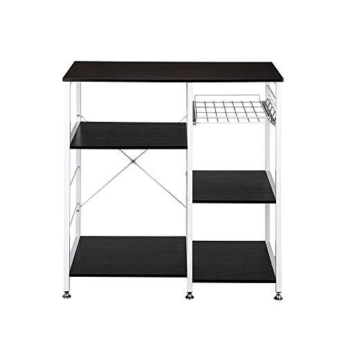 Tenozek Kitchen Baker's Rack Wood Microwave Stand Kitchen Island Storage Cart Utility Storage Shelf with 5 Hooks Dark Brown(Dark Brown)