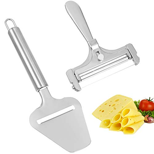 Cheese Cutter, 2 PCS Adjustable Stainless Steel Cheese Slicers with with Cheese Plane Tool for Soft, Semi-Hard, Hard Cheese Block Kitchen Cooking Tool