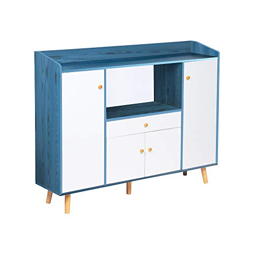 aHUMANs Sideboard with Drawer Storage Cabinet with 3 Cabinets 4 Door Buffets Kitchen Cupboard with Display Shelf for Kitchen Dining Room (Blue)