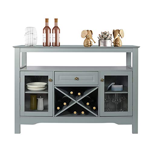 """GBU Sideboard Buffet Cabinet - Cupboard Table for Home Kitchen Dining Room Organizer with Wine Rack Open Shelf Storage Cabinet, (Gray, 45.7""""(L) x 15.7""""(W) x 32.3""""(H))"""
