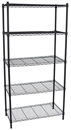 Internet's Best 5-Tier Wire Shelving - Flat Black - Heavy Duty Shelf - Wide Adjustable Rack Unit - Kitchen Storage