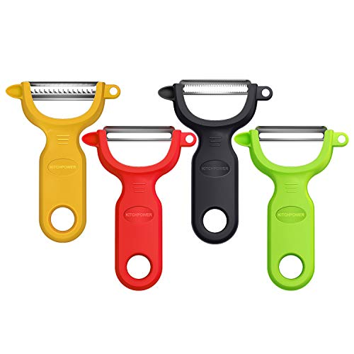 KITCHPOWER Vegetable Peeler/Potato Peeler/4-Piece Peeler Set, Red/Green/Yellow/Blac