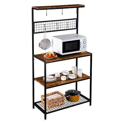 "ROVSUN Multiuse 4-Tier Metal Kitchen Bakers Rack, Microwave Storage Rack Oven Stand with Mesh Panel, Storage Organizer Workstation Industrial Style (33.3"" x 15.8"" x 66.93"")"