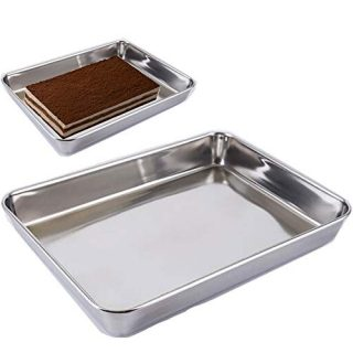 Baking Cookie Sheets Pan,Jelly-Roll Pans Roasting Pan,Stainless Steel Baking Pans Tray Cookie Sheet,Nonstick Toaster Oven Baking Sheet Pans, Easy Clean & Dishwasher Safe (12'' x 9.64'')