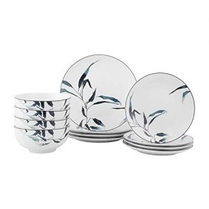12-Piece Dinnerware Set for 4 with Beautiful Leaves