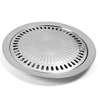 Korean Style Stovetop BBQ Grill Pan, Stainless Steel Cooking Smokeless Griddle Plate for Indoor Outdoor Home Kitchen Roasting Camping BBQ