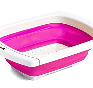 Procizion Kitchen Collapsible Colander Over The Sink Strainer Expanding Mesh with Extending Non Slip Handles (Pink)