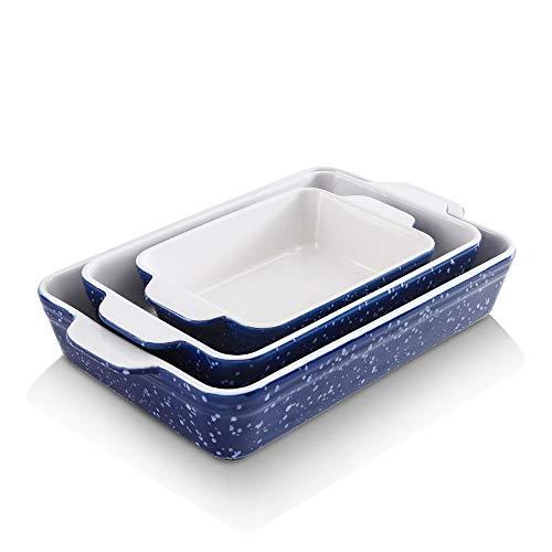 KOOV Bakeware Set, Ceramic Baking Dish, Rectangular Baking Pans for Cooking, Cake Dinner, Kitchen, 9 x 13 inch, Snowflake Series, 3-Piece (Aegean)