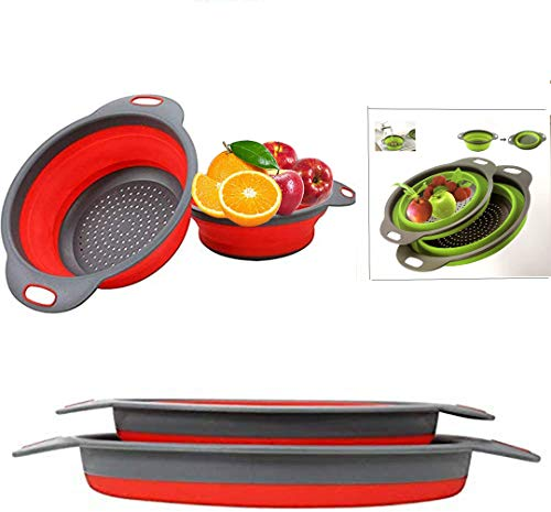 "Collapsible colander, 2 foldable kits, DLD Food Grade Silicone Kitchen Strainer Space-saving foldable filter colander, sizes 8""-2 quarts, 9.5"" -3 quarts. (Red)"