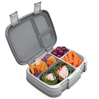 Bentgo Fresh (Gray) – New & Improved Leak-Proof, Versatile 4-Compartment Bento-Style Lunch Box – Ideal for Portion-Control and Balanced Eating On-The-Go – BPA-Free and Food-Safe Materials