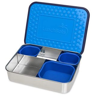 LunchBots Light Cinco Five-Section Large Bento Box + Silicone Cups - Large Stainless Steel Lunch Container – BPA Free Plastic Lid - Dishwasher Safe – Ocean
