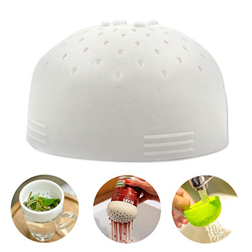 Multi-use Mini Food Strainers, Made from silicone for Drain Chickpeas Kidney Beans and Tinned Fruit - Quick Draining Strain and Contain Food (White)