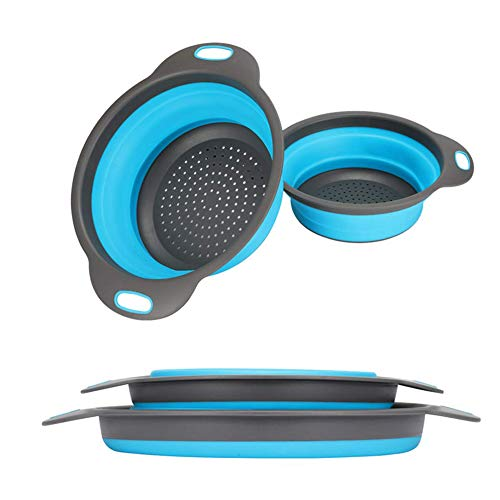 WeTest Collapsible Colanders with Handles, Food-Grade Silicone Kitchen Strainer Space-Saving Design For Pasta, Blue