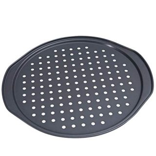 Alices Latest 14 Inch Nonstick Carbon Steel Pizza Pan Bakeware with holes Pizza Baking Pan for Oven Baking Supplies(35x33x1.5cm)