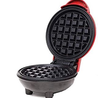 Mini Waffle Maker Portable Electric Round Waffle Maker Grill Machine for Individual Pancakes, Cookies, Eggs Individual Waffles, Paninis, Hash browns & other on the go Breakfast, Lunch & Snacks (red)