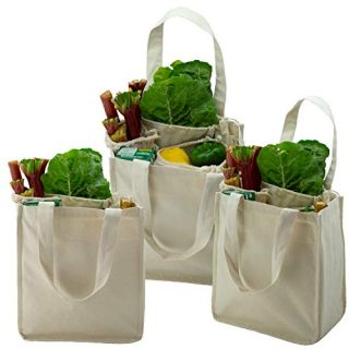 Simple Ecology Organic Cotton Deluxe Reusable Grocery Shopping Bag with Bottle Sleeves - Natural 3 Pack (heavy duty, washable, durable handles, foldable, craft & gift bag, 6 bottle wine bag carrier)