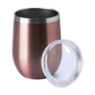 Wine Tumbler with Lid Stemless Wine Glasses Double Wall