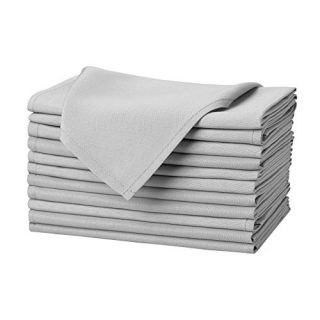 Remedios Silver Polyester Cloth Napkins - 17 x 17 Inch Soft Washable Dinner Napkins - Set of 12 Pieces Hemmed Edges Table Napkins for Wedding, Party, Restaurant