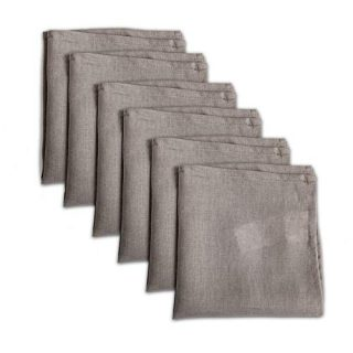 linendo 100% Pure Natural Linen Dinner Cloth Napkins 15 x 15 Inch - Set of 6 Pack European Flax Washable for Home and Kitchen (Taupe Grey, Square)
