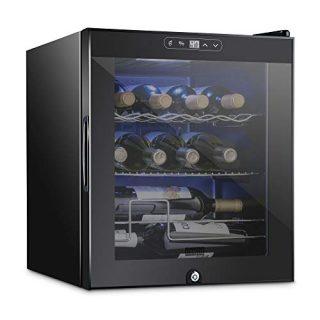 Schmecke 12 Bottle Compressor Wine Cooler Refrigerator w/Lock | Large Freestanding Wine Cellar | 41f-64f Digital Temperature Control Wine Fridge For Red, White, Champagne or Sparkling Wine - Black