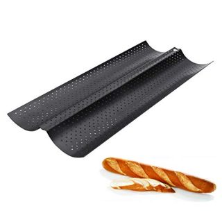 Baguette Pan, Perforated 2/3/4 Loaf French Bread Pans, Best Non-Stick Carbon Steel Baguette Baking Pan&Tray, 15-Inch L (2 Loaf)