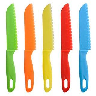 ONUPGO 5 Pieces Kids Kitchen Knife Set, Toddler'Plastic Kitchen Knife Set - Kids Safe Cooking Knives, Chef Nylon Knife/Children's Fruit Knife, Cake Knife,Bread Knife, Lettuce Knife or Salad Knife