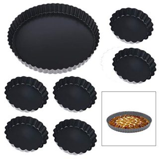 9 Inch and 4 Inch Tart Pan Removable Bottom Quiche Pan Non-Stick Pie Tart Baking Dish Pan Carbon Steel Quiche Pan for Kitchen Cooking Baking (1 Pack 9 Inch and 6 Packs 4 Inch)
