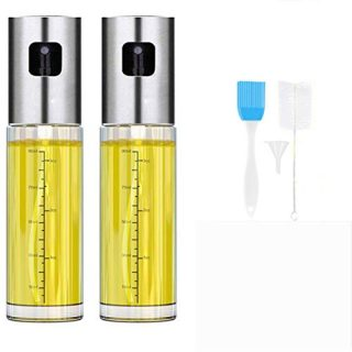 Oil Sprayer for Cooking, Oil and Vinegar Dispenser Set With Glass Bottle and Stainless Steel,Olive Oil Soy Sauce dispenser Pump Sprayer for Kitchen, Air Fryer (2 Pack)