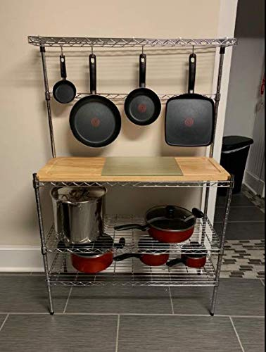 Stainless Steel Kitchen Butcher Rack with Removable Cutting Board,4 Hooks, and 3 Shelves, Metal Three Tier Kitchen Shelving Unit, Wire Rack Organizer for Home, Microwave Cooker Pots Stand Storage Work