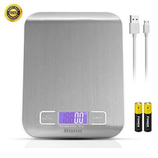 Digital Kitchen Scale Food Scale,USB Kitchen Scale,Food Grade Balance Scale 0.04oz/1g Increment,11 lb/5 kg,Backlit LCD Display Function(Batteries Included AAAX2) Silver