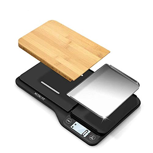Nutri Fit Food Scale with Removable Cutting Board & Tray - 3 in 1 Digital Kitchen Scale, LCD Display, 11lb 5kg, Easy for Cooking & Clean by Nutrifit (Measuring spoons & Batteries Included)¡