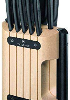 Victorinox Swiss Classic Cutlery, 11 Pieces Block Knife Set, Set of 11, Black