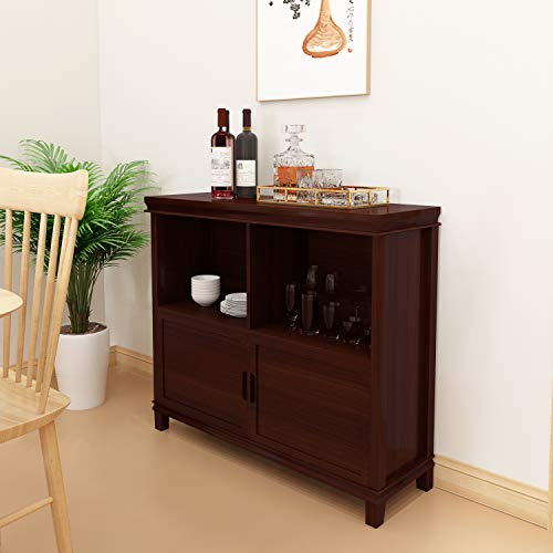 Frstone Cabinet for Living Room Wine Cabinet Display Cabinet Kitchen Sideboard Solid Wood Kitchen Storage Cabinet, Cherry