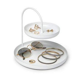 Umbra Poise Large, Double, Attractive Storage You Can Leave Out, Two-Tiered Jewelry Tray, Accessory Holder, White