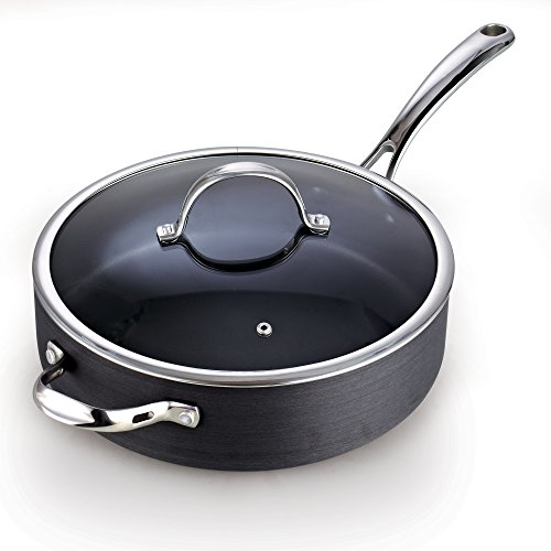 Hard Anodized Nonstick Deep Saute pan with Lid