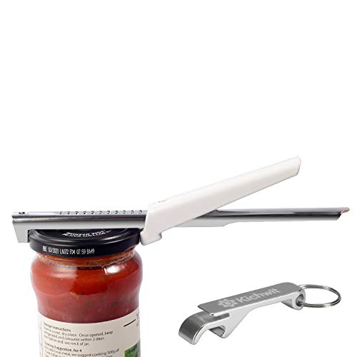 "Kichwit Adjustable Jar Opener for Arthritis - All Metal Construction - Easily Opens 3/8"" to 4"" Jar and Bottle Lids - Free Bonus Bottle Opener Keychain Included"