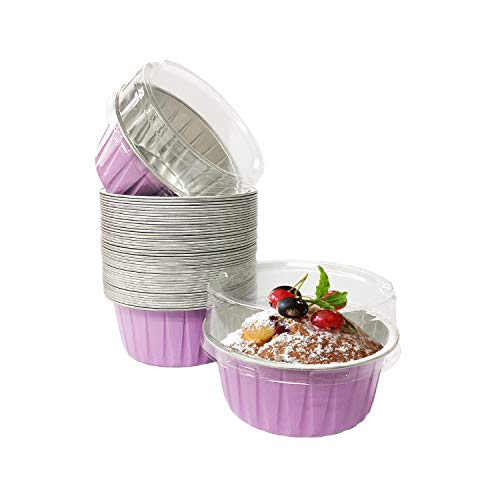 Prudance 50pcs 125ml 5oz Disposable Ramekins, Aluminum Foil Cups with Lids Muffin Cupcake Baking Cups Ramekins for Baking Foil Cupcake Baking Cups (Light Purple)