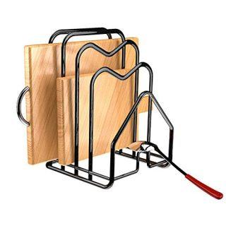 "Cutting Board Rack Holder Chopping Board Organizer Stand Kitchen Pot Pan Lids Rack Organizer Flat Steel 4.92""x5.72""x8.46"" (Black)"