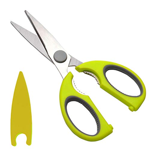 Uptsky Kitchen Scissors,Stainless Steel Food Scissors Fish Chicken Bones Meat Cutting Kitchen Shear Scissors Cuddle Baby Food Scissors Sharp Kitchen Shear with Protective Blade Cover Case