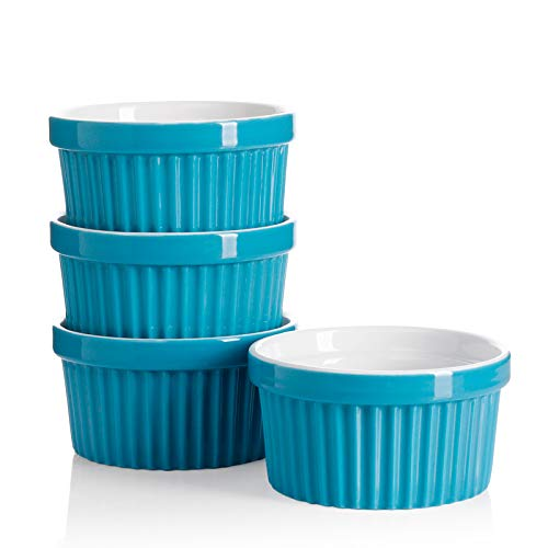 Sweese 501.407 Porcelain Souffle Dishes, Ramekins for Baking - 8 Ounce for Souffle, Creme Brulee - Set of 4, Steel Blue