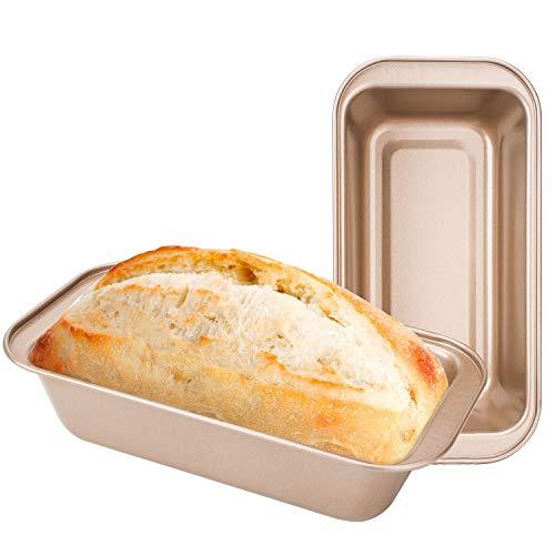 Loaf Pans for Bread Baking, Beasea 2pcs Nonstick Bread Pans 8.5 x 4.5 Inch Bread Loaf Pans Golden Loaf Baking Pans Carbon Steel Loaf Bakeware for Oven Baking