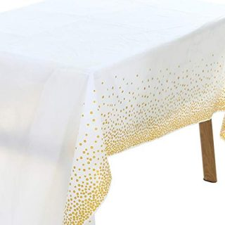 UltraOutlet 6 Packs Rose Gold Dots Tablecloth for Rectangular Tables, 54 x 108 Rectangle Disposable Table Covers for Wedding Parties, Bridal Showers, Birthday Parties, Baby Showers