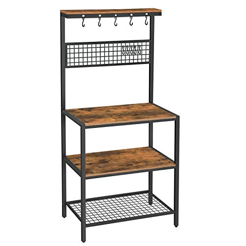 VASAGLE ALINRU Kitchen Bakers Rack Cupboard with 10 Hooks, Mesh Panel, 3 Shelves, and Adjustable Feet, for Microwave Oven Cooking Utensils, Industrial, Rustic Brown UKKS17BX