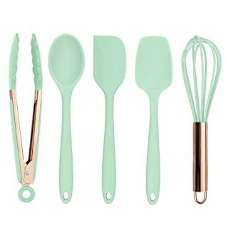 Cook with Color Silicone Cooking Utensils, 5 Pc Kitchen Utensil Set, Easy to Clean Silicone Kitchen Utensils, Cooking Utensils for Nonstick Cookware, Kitchen Gadgets Set - Mint Green and Copper