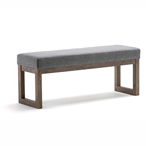 Ottoman Bench in Grey Linen Look Fabric