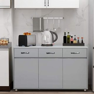 RASOO Buffet Cabinet Kitchen Cabinet Storage Sideboard Cabinet Cupboard Sideboard Buffet Kitchen Room (Grey-3 Doors and 3 Drawers)