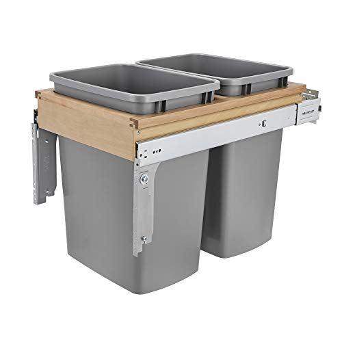 Rev-A-Shelf 4WCTM-18BBSCDM2 Double 35-Quart Pull Out Top Mount Kitchen Trash Container Bin Wastebasket for 1.5 Inch Face Frame Cabinets, Silver