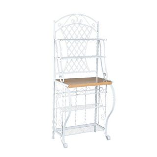Trellis Bakers Rack w/ Scroll Work - White Metal Frame & Oak Finish Shelf - Chic Design
